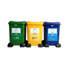 3'lü Plastik Sıfır Atık Geri Dönüşüm Kovası Seti 50 Litre