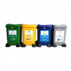4'lü Plastik Sıfır Atık Geri Dönüşüm Kovası Seti 50 Litre