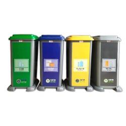 4'lü Plastik Sıfır Atık Geri Dönüşüm Kovası Seti 70 Litre